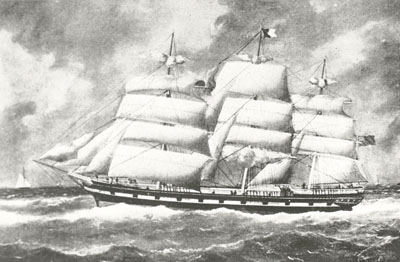 The John Allan (built 1867), a 'coolie ship' used to transport indentured migrants from India to Mauritius